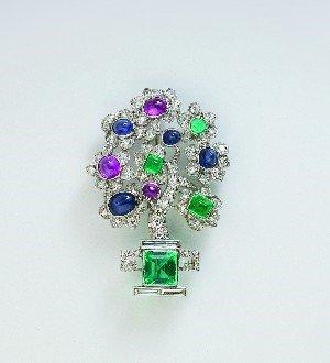 1: A Lady's Diamond, Emerald, Ruby and Sapphire Art Dec