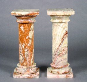 330: A Pair of Onyx Pedestals. Height 33 2/4 inches.