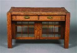 404: An Arts & Crafts Oak Library Table, Height 29 1/4