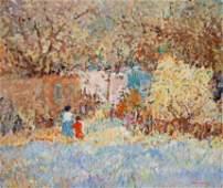 Dane Clark American b 1934 Adobe Landscape with