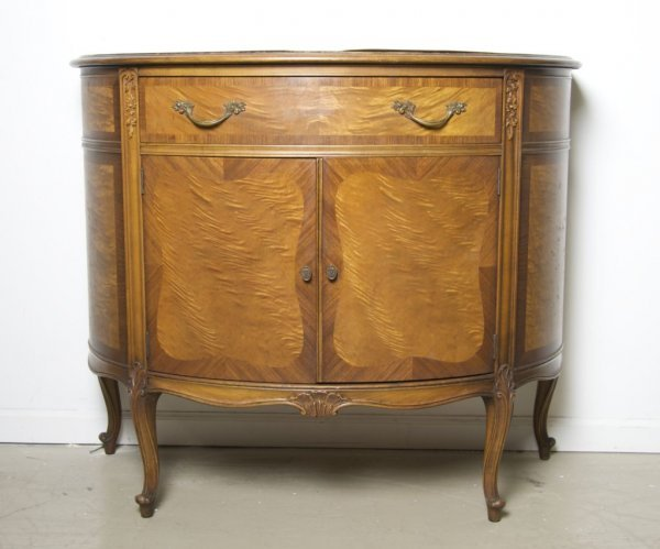 4: A Louis XV Style Demilune Cabinet, Height 34 x width
