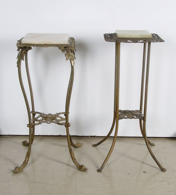 6: A Group of Two Gilt Metal Occasional Tables, Height