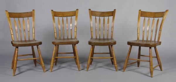 13: A Set of Four Pine Side Chairs, Height 34 x width 1