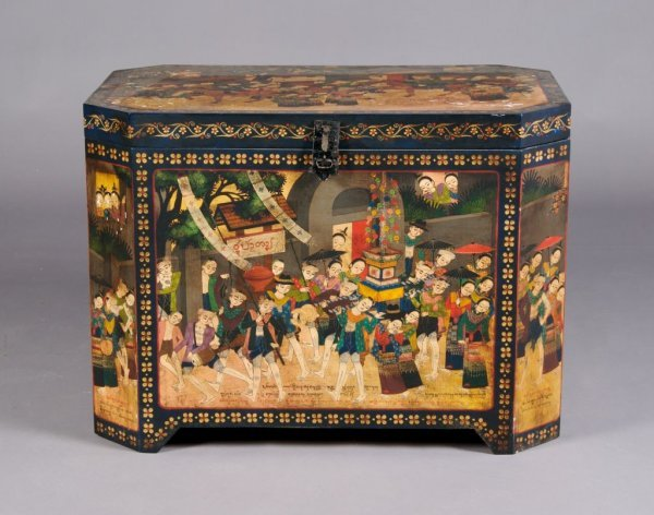 24: A Burmese Painted Wedding Chest, Height 21 1/2 x wi