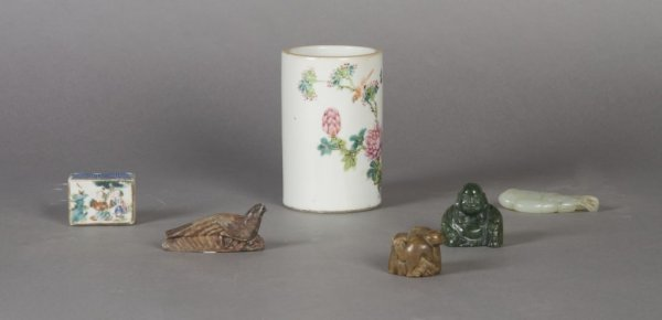 349A: A Chinese Porcelain Brushpot and Toggles, Height