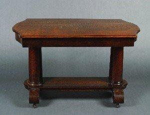 434: An American Oak Side Table, Height 29 3/4 x width