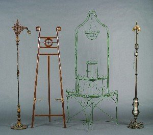438: Two Gilt Metal Floor Lamps, Height of plant stand