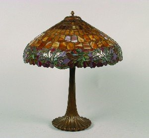 477: An American Leaded Glass Table Lamp, Diameter of s