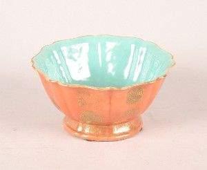 A Chinese Orange and Gilt Ground Foliate Bowl, Di