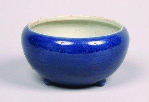 1142: A Chinese Powder Blue Glazed Porcelain Tripod Cen