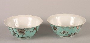 1148: A Pair of Chinese Turquoise Ground Grisaille Porc
