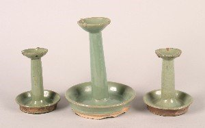 1158: A Pair of Chinese Green Glazed Candlesticks, Heig