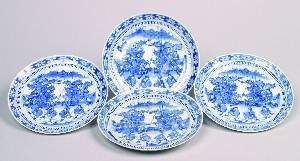 Four Chinese Blue and White Porcelain Plates, Dia