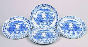 1160: Four Chinese Blue and White Porcelain Plates, Dia
