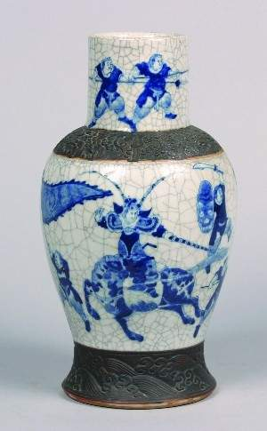 A Chinese Blue and White Crackle Glazed Porcelain