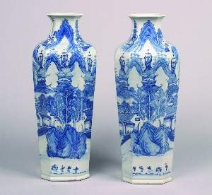 A Pair of Chinese Canton Blue and White Porcelain