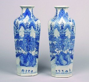 1163: A Pair of Chinese Canton Blue and White Porcelain