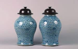 A Pair of Chinese Blue and White Porcelain Ginger