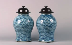 1165: A Pair of Chinese Blue and White Porcelain Ginger