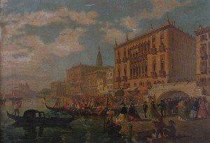 1522: A. Tavera, (Italian, 19th Century), Venetian Scen