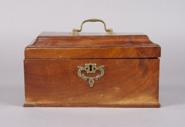 3: An English Mahogany Tea Caddy, Width 9 1/2 inches.