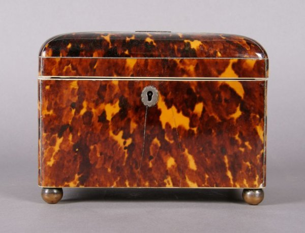 5: A George III Tortoise Shell Tea Caddy, Height 5 1/4