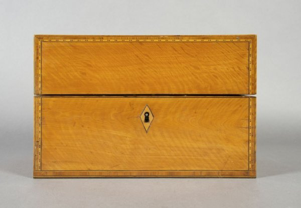 8: An English Satinwood and Walnut Tea Caddy, Height 6