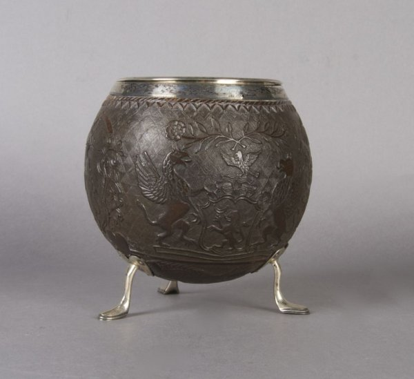 10: An English Carved and Silver Mounted Coconut Shell,