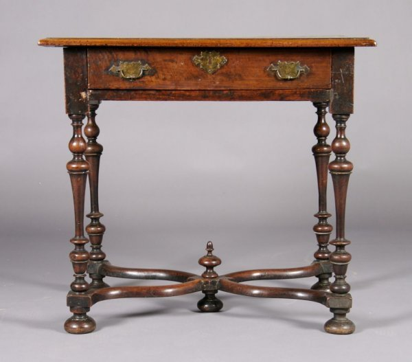 13: A Walnut William and Mary Style Table, Height 29 1/