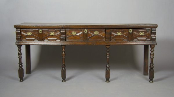 14: An English Charles II Style Sideboard, Height 34 1/