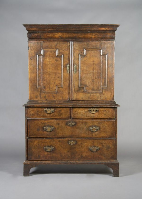 22: A Charles II Walnut Cabinet on Chest, Height 67 1/2