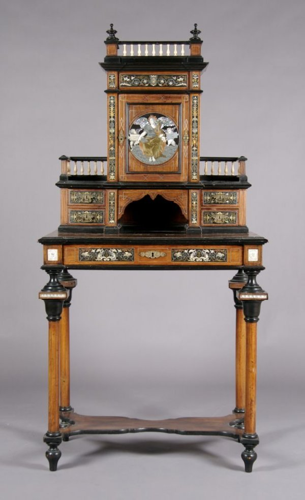 331: A Continental Ebony, Ivory and Metal Inlaid Desk,