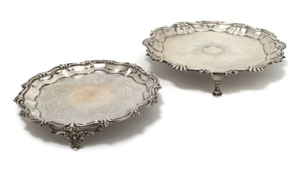508: A Group of Two English Sterling Silver Salvers, Di