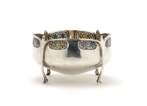 516A: An English Silver and Enameled Bowl, Liberty & Co