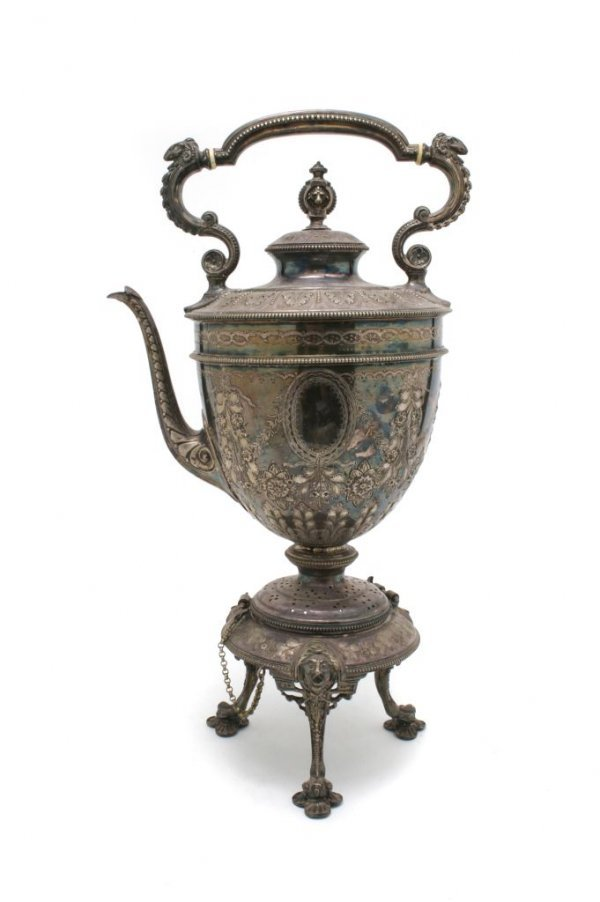 521: A Silverplate Hot Water Kettle on Stand, possibly