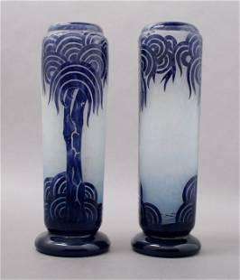 740: A Pair of La Verre Francais Cameo Glass Vases, Hei