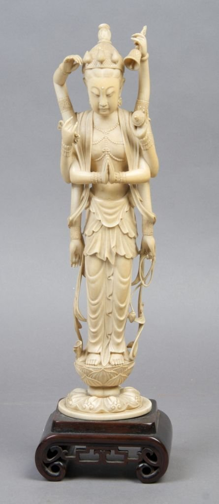 936: An Indian Ivory Carving of a Hindu Deity, Height o