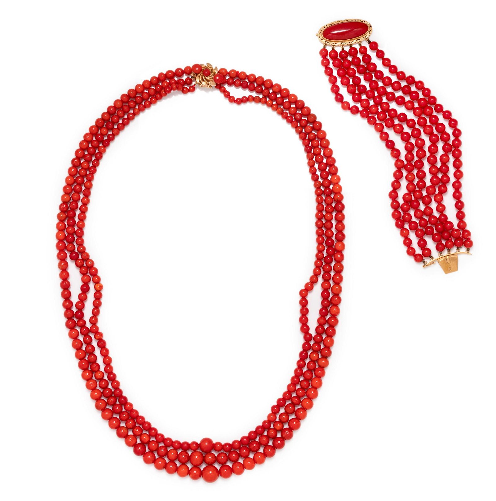 COLLECTION OF CORAL BEAD JEWELRY