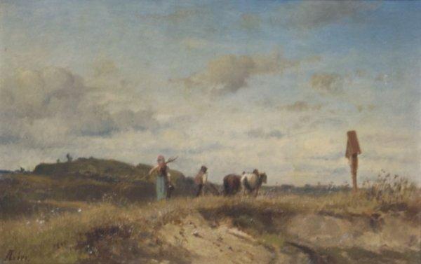 Adolf Lier, (German, 1826-1882), Landscape with Figures
