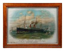 A French Transoceanic Steamship Lithograph Poster