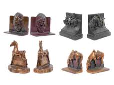 Four Sets of Bronze Western Themed Bookends largest