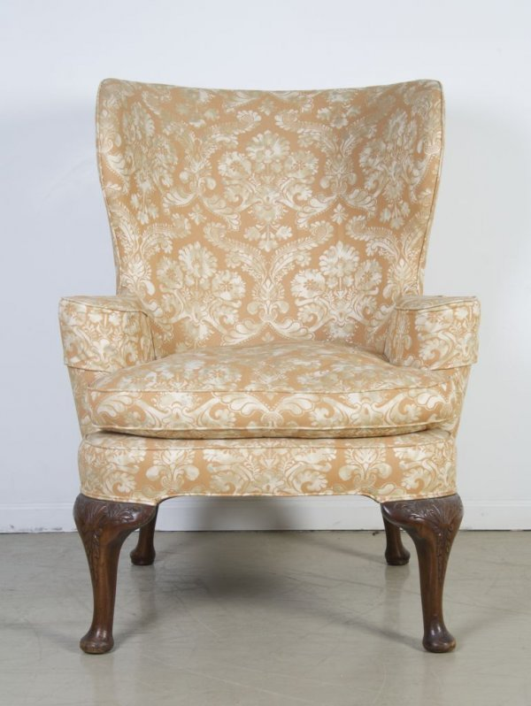 3: A Georgian Style Wingback Armchair, Height 43 inches