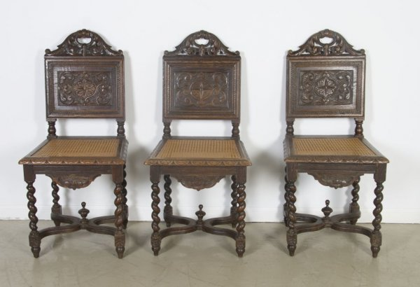 19: A Set of Three Renaissance Revival Style Side Chair