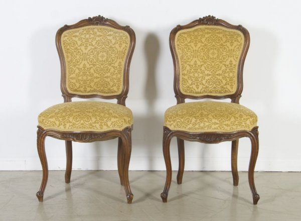 23: A Pair of Louis XV Style Side Chairs, Height 35 1/2