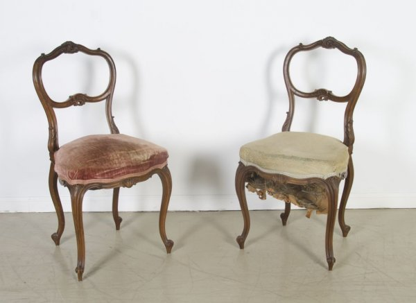24: A Pair of Louis XV Style Side Chairs, Height 33 3/4