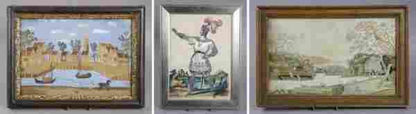 A Group of Framed Decorative Articles, Height of t