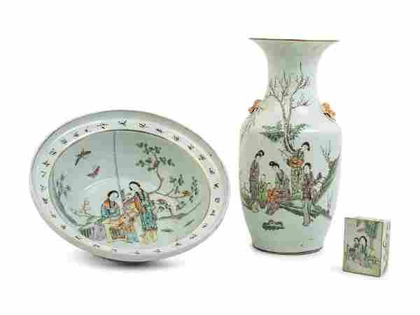 Three Chinese Famille Rose Porcelain 'Ladies' Articles