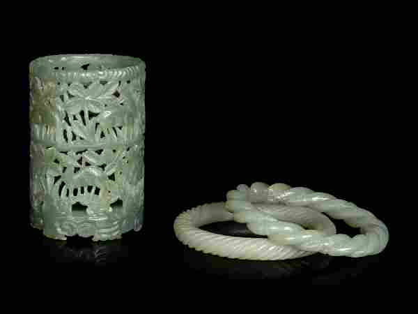 Three Chinese Carved Celadon Jade Articles