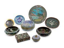 Nine Chinese Cloisonné Enamel Articles