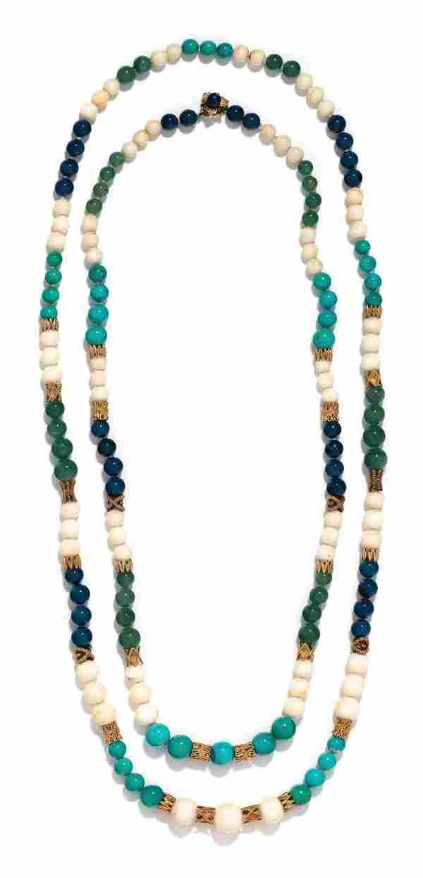 COLLECTION OF YELLOW GOLD AND HARDSTONE BEAD NECKLACES